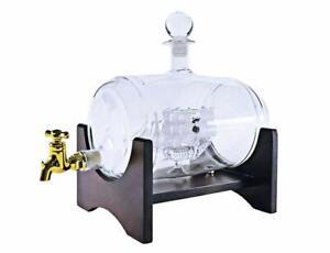 40-Oz-039-Barrel-039-Handmade-Whisky-Decanter-Set-Spirits-Dispenser-with-Ship-inside