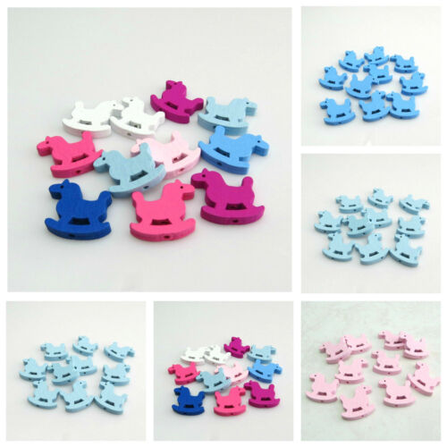 30PCS 24MM MULTI COLOURED ROCKING HORSE SHAPED WOODEN BEADS FOR JEWELLERY MAKING