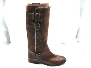 Max-Studio-8M-brown-buckle-tall-riding-boots-Womens-Ladies-Shoes