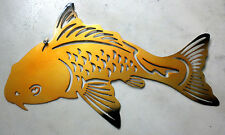 18 inch Koi Gold Fish Asian Inspired Yin Yang  Metal Wall Art Stencil Wind Chime