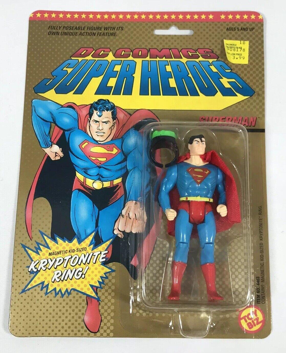 Figura De Dc Comics súper Heroes súperman Moc error Tarjeta blancoo Raro 1989 Juguetebiz