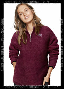 Image is loading Victorias-Secret-Pink-Sherpa-Boyfriend-Quarter-Zip-Jacket- 925a7e9c4