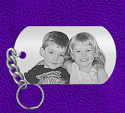 Picture of your Kids, Laser Engraved Photo Keychain Gift, Personalized FREE
