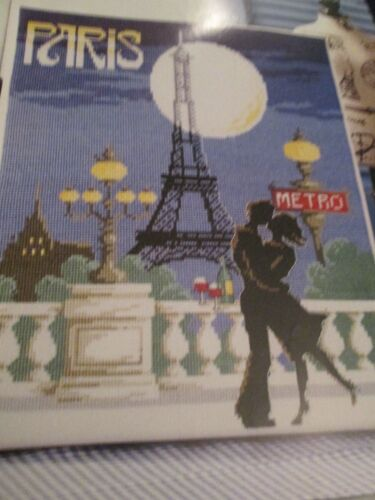 POSTER in stile vintage campionatore PARIS FRANCIA BY Moonlight cross stitch chart
