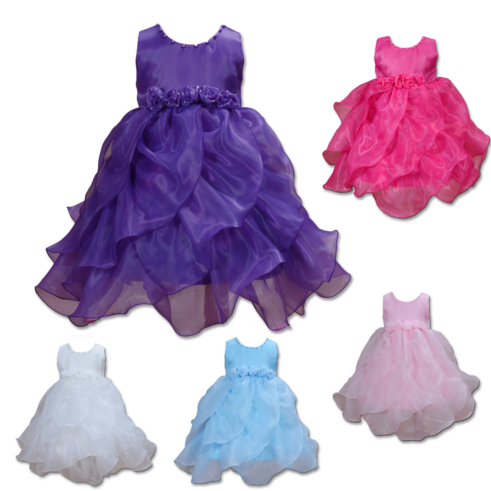 Flower Girl Bridesmaid Dress in Pink,Hot Pink,Blue,Purple,Ivory 12M to 6 Years
