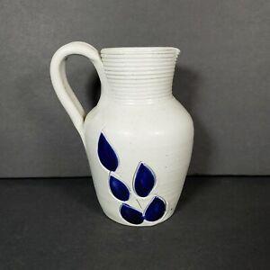 "WILLIAMSBURG Salt Glazed Stoneware Pottery Cobalt Blue Leaf Pitcher Vase 5"" Tall"
