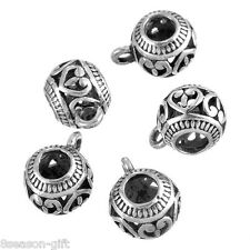 25PCs Silver Tone Heart Pattern Bail Beads Fit Charm Bracelet