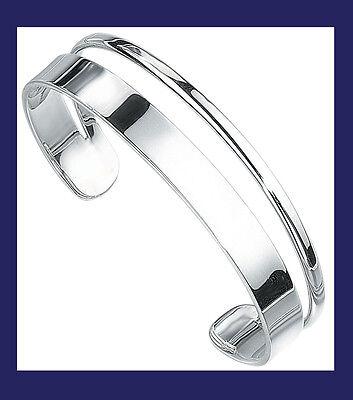 Bangle Torque Cuff Solid Silver Bracelet Ladies Sterling Silver D Shape