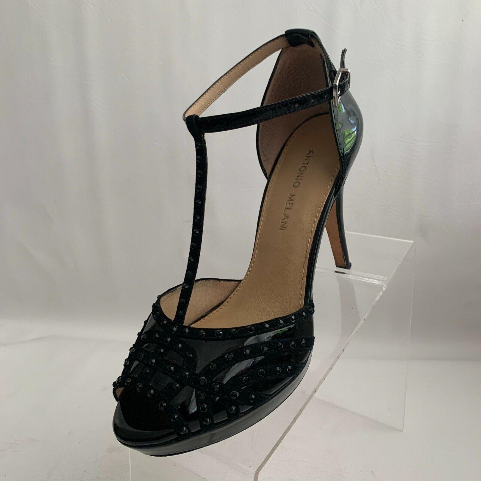 Antonio Melani T-Strap Heels Black Patent Leather Peep Toe Buckle Shoes Size 9M