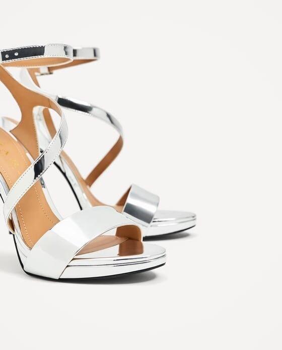 Zara New Metallic Silver High Heel Sandales Sandales Sandales Größe 6.5 EUR 37 NWT 434ab1