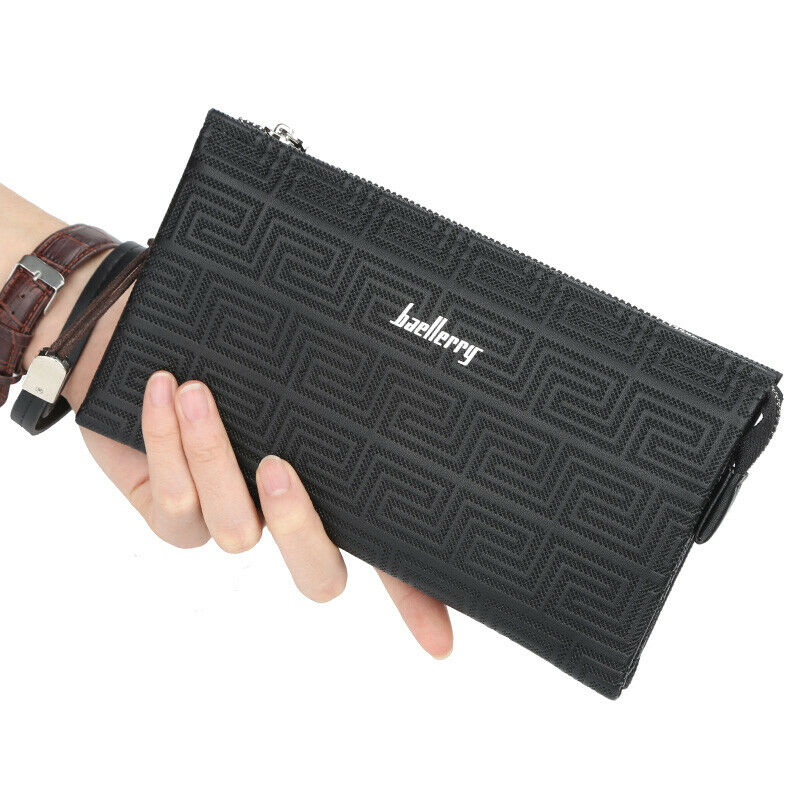 Image 41 - Large Capacity Mens Leather Wallet Long Zipper Clutch Purse Card Holder Handbag