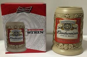 Budweiser-Label-034-King-of-Beers-034-2015-Stoneware-Stein-NEW-mug-frm-Anheuser-Busch