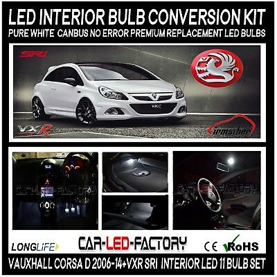 Premium LED Interior Light Conversion Kit Vauxhall CORSA D 2007-13 White 11 Bulb