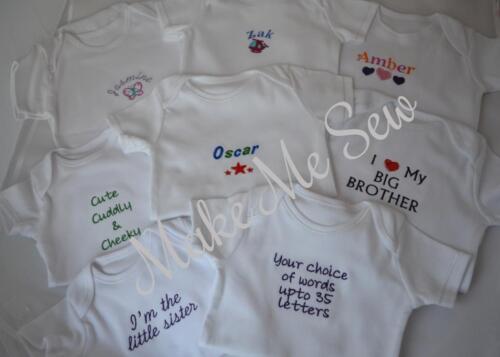 garçon /& fille Personnalisé bébé veste un mot nouveau bébé cadeau babygrow nouveau-né