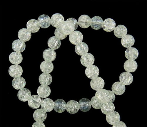 15 Crackle Clear Glass Beads 10mm BD291