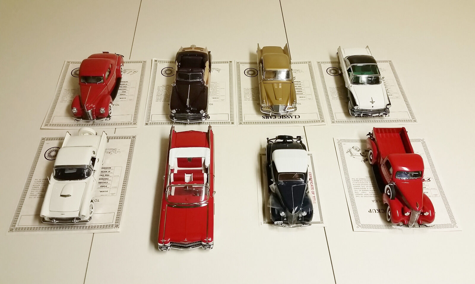 Lot of 8 Danbury Mint Diecast 1 24 Scale Model Cars w Titles - Collector Series