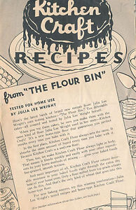 Details about 1940 Kitchen Craft Flour Oakland CA Advertising Cookbook  Recipes