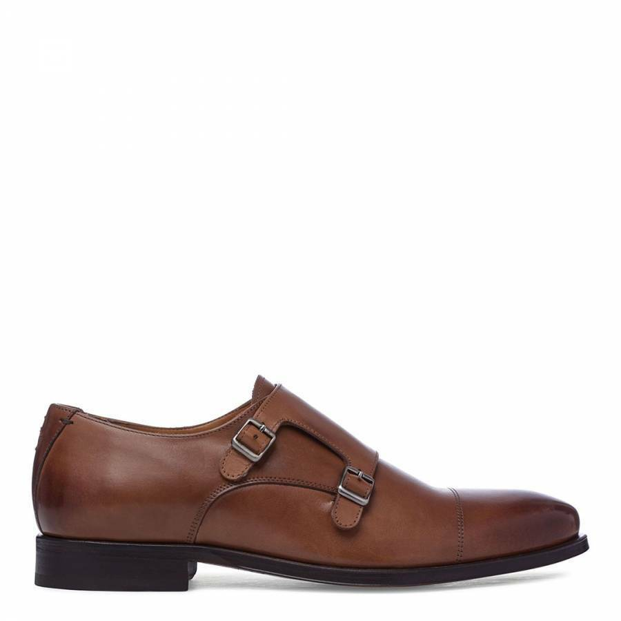 OLIVER SWEENEY Men's Tan Leather Milfontes Double Buckle Fastening Monk shoes