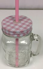 Fabulous Printed Mason Jar With Straw - Pink Tartan Style Checks