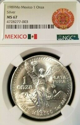 1983 MEXICO SILVER LIBERTAD 1 ONZA NGC MS 67 VERY HIGH GRADE SUPERIOR LUSTER