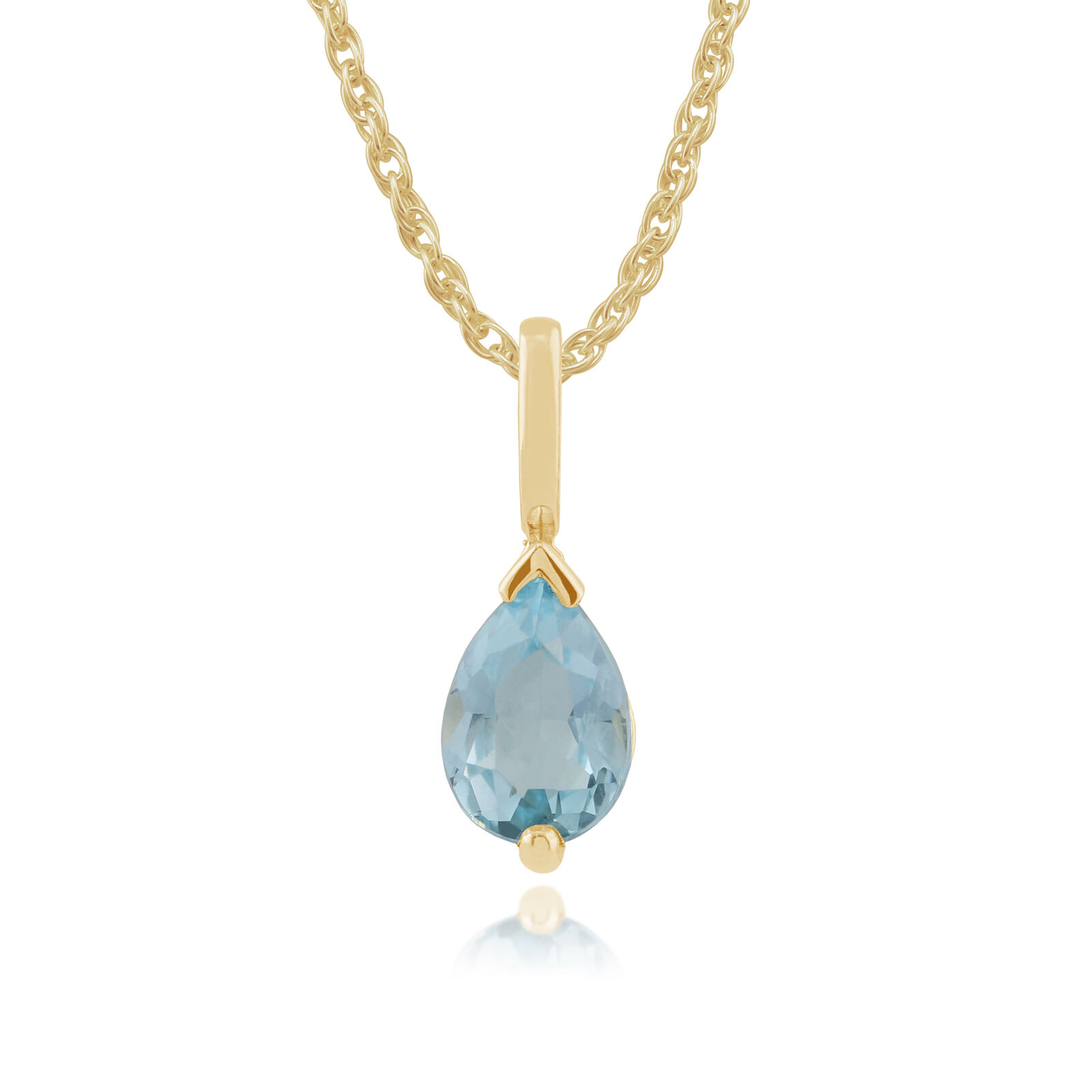9ct Yellow gold 0.72ct bluee Topaz Single Stone Classic Pear Pendant on Chain