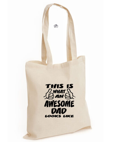 AWE.DAD,BAG This IS What Awesome Dad Looks Like COTTON TOTE Father Day Birthday