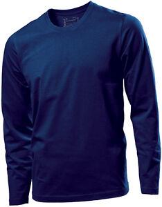 Hanes Tagless Mens Cotton Plain NAVY DARK BLUE Long Sleeve Tee T ... ab21932a953
