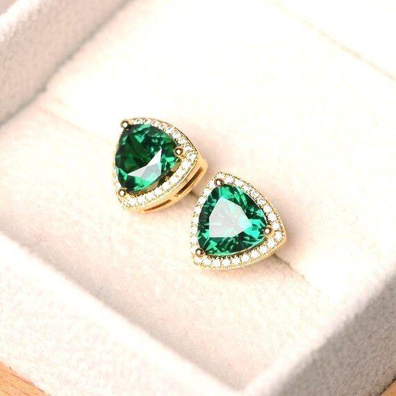 668fac710 2Ct Trillion Cut Green Emerald Diamond Halo Stud Earrings 14K Yellow gold  Finish