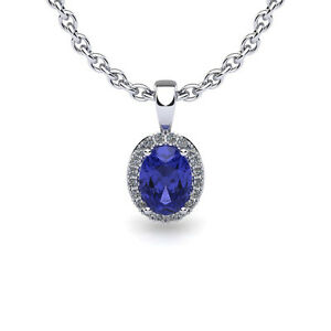 14K-WHITE-GOLD-0-62-CARAT-OVAL-TANZANITE-AND-HALO-DIAMOND-NECKLACE-W-18-034-CHAIN