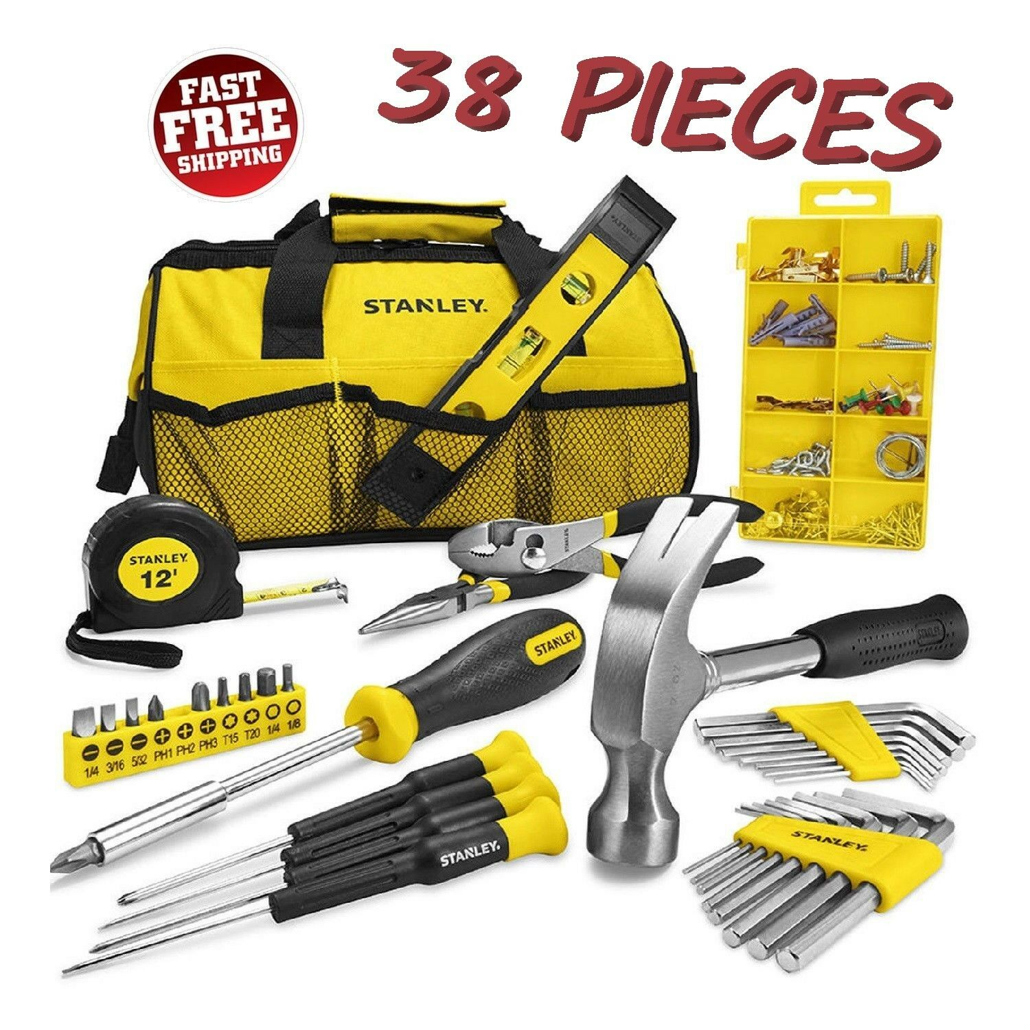Stanley Household 38pc Tool Set with Soft Case Gift Home Repair Tools Kit Combo