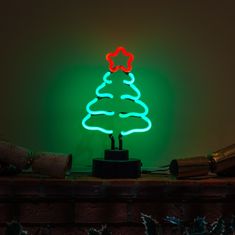 Handmade Neon Festive Holiday Christmas Tree Table Decoration TALL SPRUCE Light