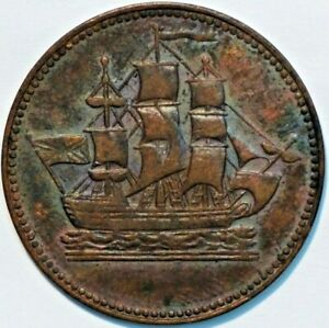 OLD-Canadian-Coins-token-BRETON-997-SHIPS-COLONIES-COMMERCE-R4-B-745
