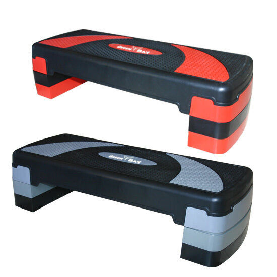 Röd grå anpassningsbar Aerob Step per 3 Nivå Yoga Board Home Exercis