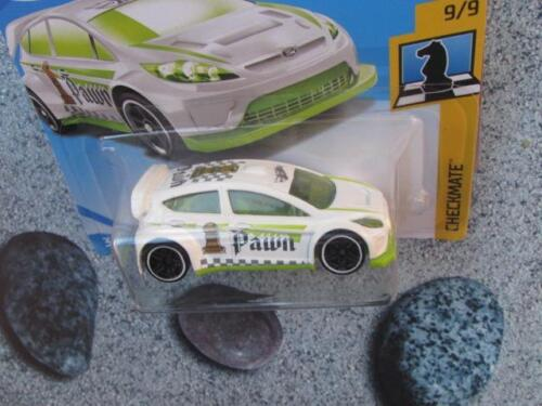 """Hot Wheels 2018 #263//365 2012 FORD FIESTA white green /""""Pawn/""""  Checkmate chess"""