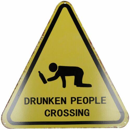 Hanging /'Drunken People Crossing Metal Sign Plaque PrePunched Holes 35x35cm