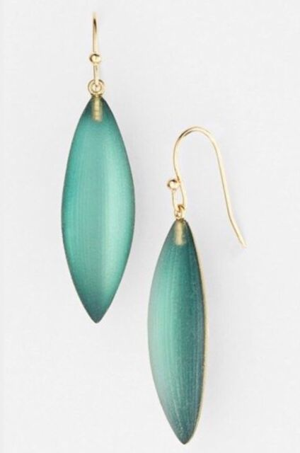 NWT ALEXIS BITTAR TEAL LUCITE SMALL SLIVER EARRINGS