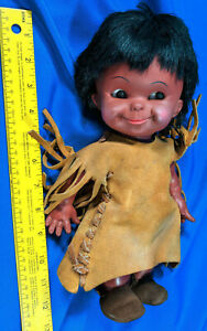 Regal-Canada-Native-American-Indian-Doll-12-034-Rubber-Soft-Plastic-VTG-Leather
