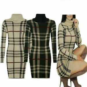 Polo-Neck-Tartan-Knitted-Midi-New-Ladies-Women-Long-Sleeve-Bodycon-Jumper-Dress