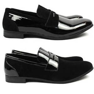 73ac5d2650e0 New Men Black Tuxedo Shoes Slip On Patent/Suede Leather Dress Shoes ...