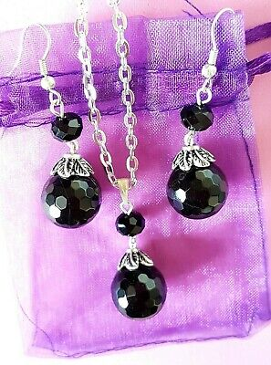 Crystal Quartz Black Agate /& Goldstone Necklace And Earrings Set