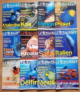 12x-Unterwasser-2001-Jahrgang-Zeitschrift-Sport-Meere-Tiere-Urlaub-Tauchen