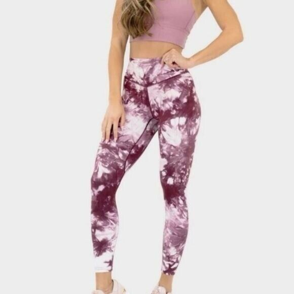 Balance Athletica Tie Dye Legging Aura Intuition Small Pink White