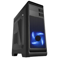 CiT Hero Black Midi ATX PC Gaming Windowed Case Black USB 3.0 Blue LED 120mm Fan