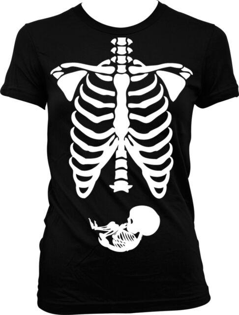 Pregnant Skeleton Ribs Bones Halloween Pregnancy Costume Funny Juniors T-shirt
