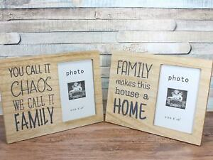 Family Chaos Saying 6x4 Photo Frame Choice Of 2 Wooden Frames Ebay