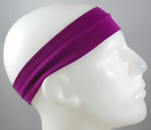 "NEW 2/"" Super Soft Blue Black Zebra Hair Band Head Sport Sweat Headband Stretch"