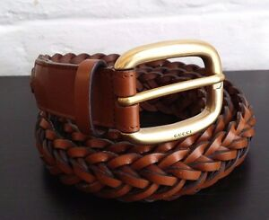 494dca10a4d Image is loading AUTHENTIC-GUCCI-BRAIDED-LEATHER-BELT-WITH-BRASS-BUCKLE-