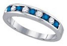 10k White Gold Ladies Blue and White Diamond Wedding Band Ring 1/4 Ct