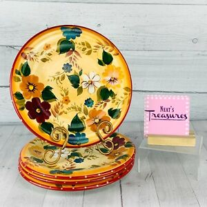 Oneida-SUNSET-BOUQUET-Stoneware-Bright-Colorful-Floral-Dots-Dinner-Pates-Set-4