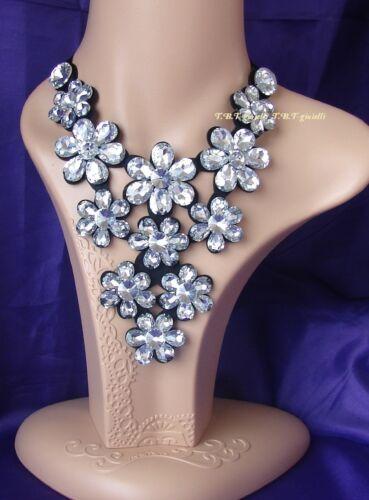 Fiori di Cristallo Elegante Collana girocollo nastro nero,Cerimonia,Capodanno